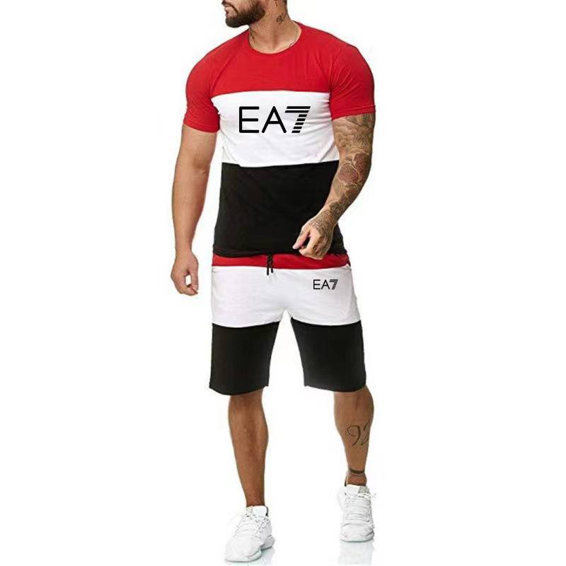 2021The new Summer Men Set Fitness Suit Sporting Suits Short Sleeve T Shirt + Shorts Quick Drying 2 Piece Patchwork Casual Suit