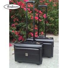 BeaSumore ハイグレード本革キャプテンローリング荷物多機能 18/19 インチのラップトップバッグ男性女性パイロットスーツケースホイール