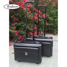 BeaSumore High grade Genuine Leather captain Rolling Luggage Multifunction 18/19 Inch Laptop bag Men Women pilot Suitcase Wheels