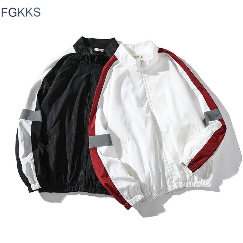 FGKKS Fashion Trend Men Casual Jacket Spring Brand Men's Splice Stand Collar Jacket Male Jogging Windproof Jackets Coat Tops