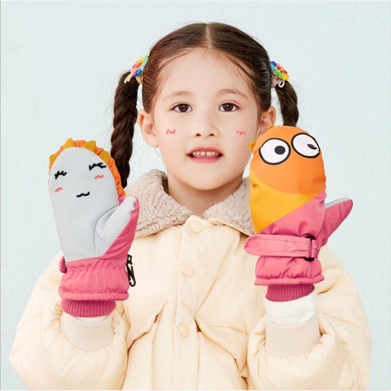 Kids Boy Girl Waterproof Snow Ski Gloves Cute Cartoon Penguin Shark Contrast Color Thermal Thick Lined Anti-Slip Winter Mittens