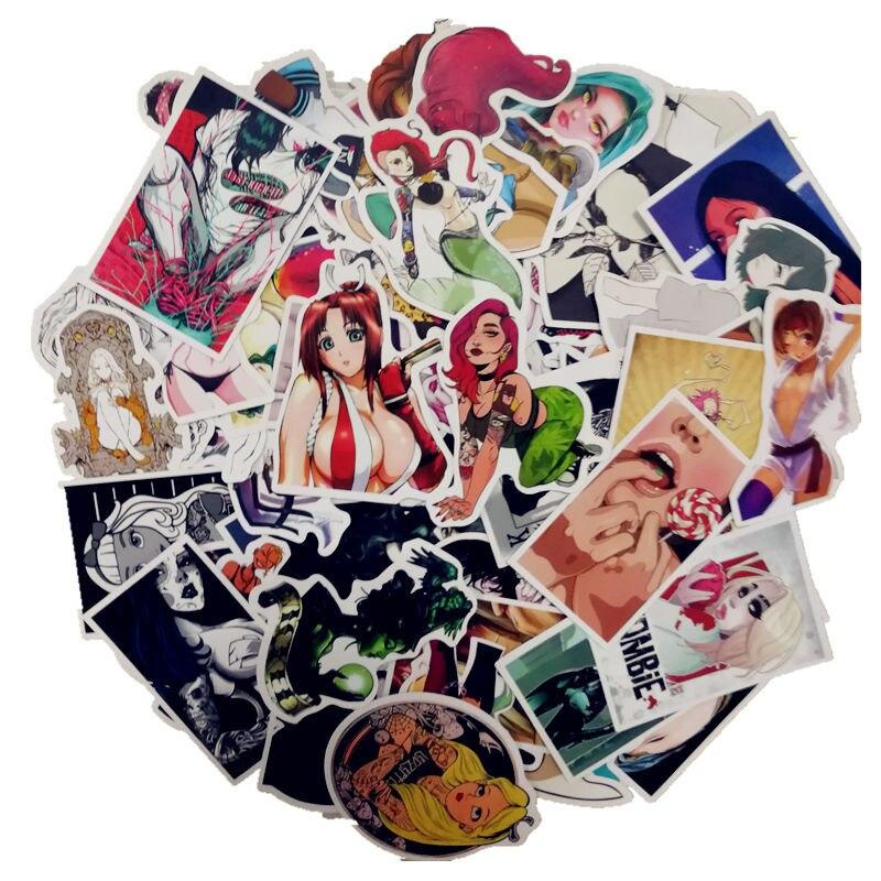 100 Pcs/Pack Cartoon Anime Stickers Sexy Beauty Doodle Sticker Laptop Phone Fridge Skateboard Home Wallpaper Decor DIY Stickers