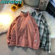2021 New Coat Spring Autumn Casual Stand Jacket Men Korean Reversible Plaid Fashion All Match Loose Fit Jacktes Men Women