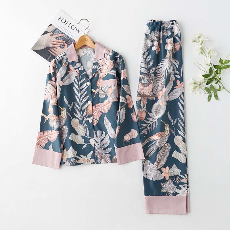 Spring Classical Magpie Printing Satin Pajamas Long Sleeve Loungewear Women Sleepwear Turn-down Collar Thin Home Clothes 2 Suits