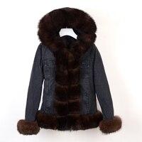 winter natural real fox fur coat Parker rabbit fur lining denim coat jacket jeans high spring female natural fur coat thick