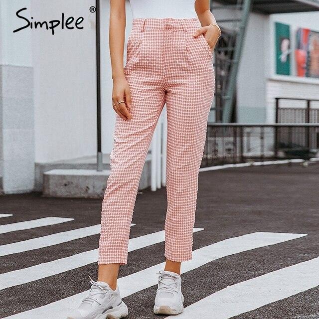 Simplee Pink plaid casual pants women 2019 Summer vintage work pants capris female Straight office ladies British style trousers 1