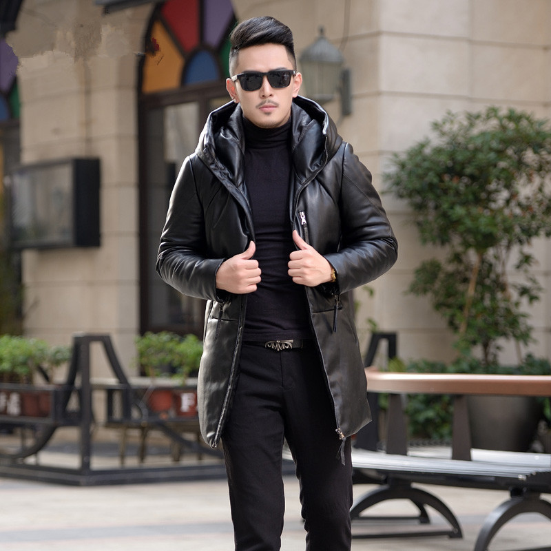 Mens Leather Jacket Men Winter Warm Hooded Down Jacket Male Second Layer Sheepskin Coat Leather Jackets F1716 LWL1086