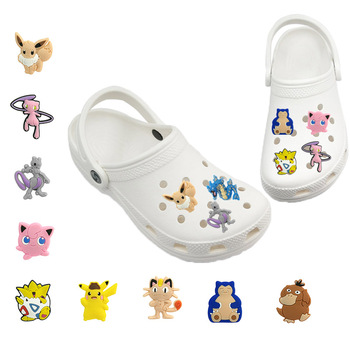 1-5pcs Classic Games Cartoon Jigglypuff Mew PVC Shoe Charms Jibz For Croc Shoes Decoration Charms Accessories Gift For Kids