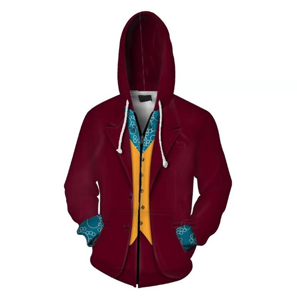 New Movie Joker Cosplay Hoodie Joaquin Phoenix Joker 3D Print Zip Up Sweatshirt Casual Outwear Fall Clothes Men Women Jacket