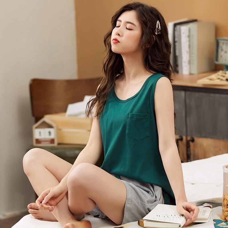 2PCS Women Pajama Set Solid Sleeveless Top Sleepwear Tank Vest Shorts Undertwear