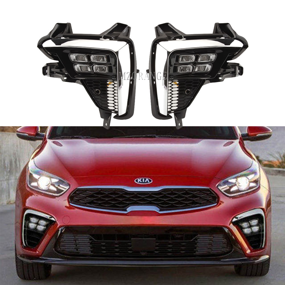 LED DRL Headlight For Kia K3 Cerato 2018 2019 2020 LED Fog Lights Headlights Fog Lamps Foglights Fog Light Grille Frame Covers