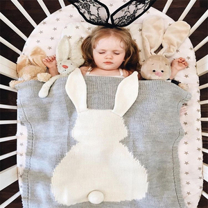 Image 5 - Воздушное одеяло, Вязаное детское одеяло в виде кролика, лисы, мультяшное животное, покрывала для дивана, коляски, детское постельное белье для новорожденных, пеленка