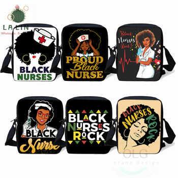 LALIN Black Nurse Print Small Shoulder Bag Afro Women Handbag American Africa Ladies Casual Totes Girls Crossbody Bags Bookbag - DISCOUNT ITEM  30 OFF Luggage & Bags