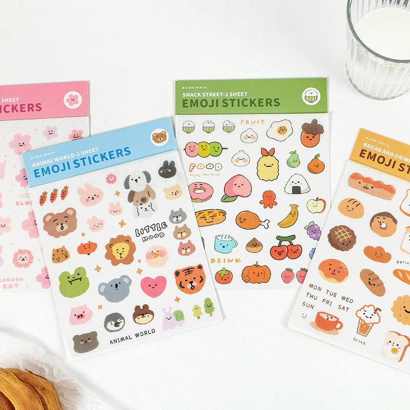 Mohamm 1 Sheet Flat Stickers Cute Cartoon Animal Food Face Creative Stationary Scrapbooking Gift Girl School Supplies