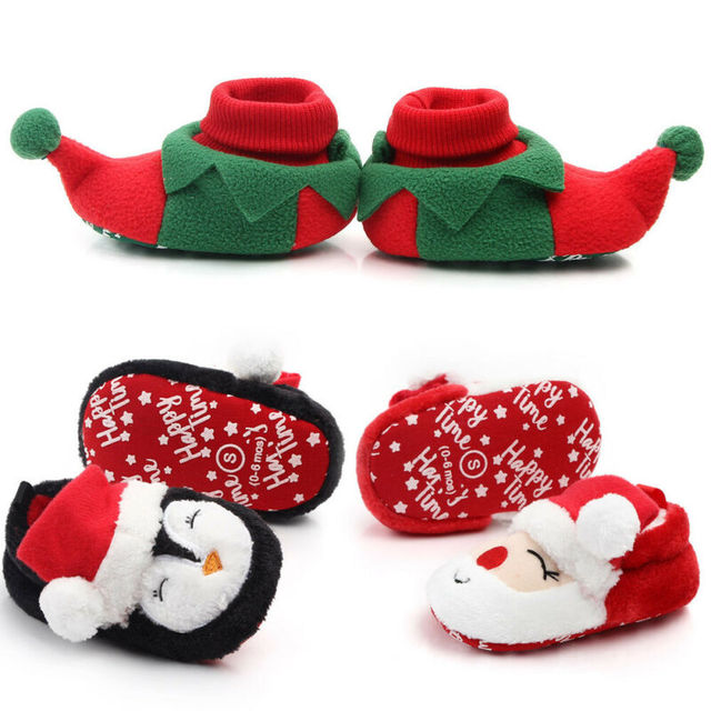 Christmas Winter Warm Baby Soft Sole Toddler Santa Claus Newborn Infant Gifts First Walkers Xmas Cosplay Cartoon Animal Shoes