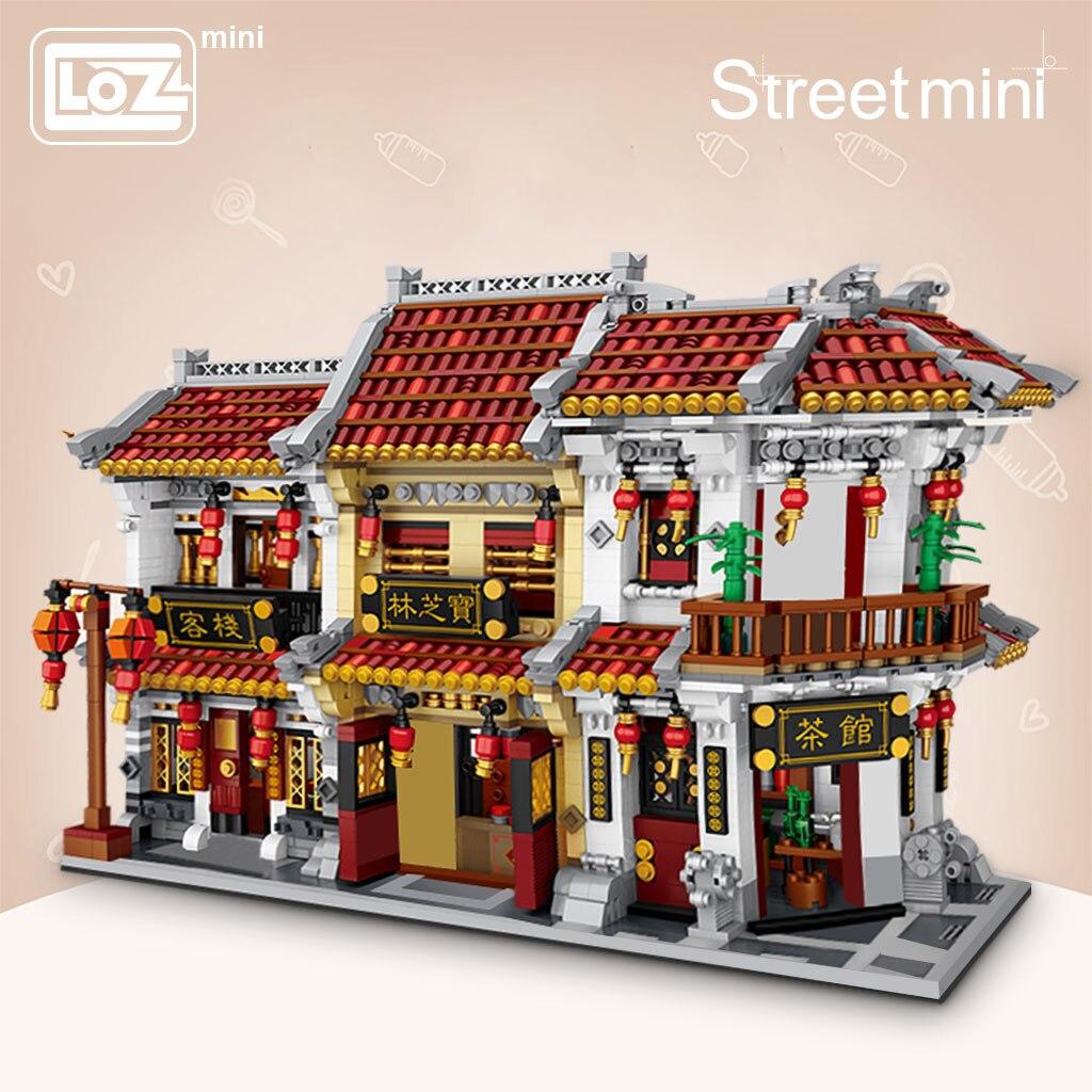 LOZ Mini Block Mini Street City Big China Street Chinese Tradition Tea House Pharmacy Inn Special Model DIY Assembly Toys