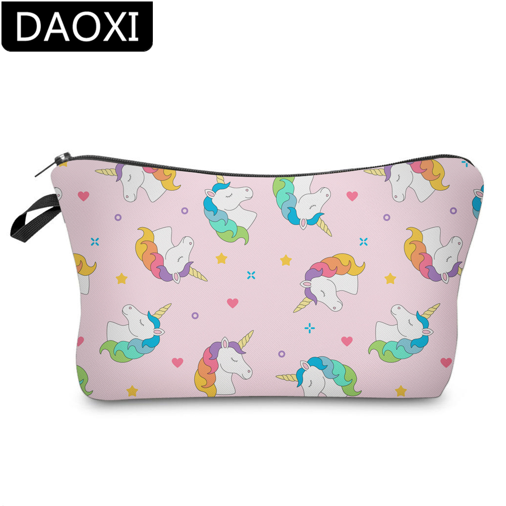 DAOXI 3D Printing Rainbow Unicorn Cosmetic Bags Waterproof Heart Makeup Bag Toiletry Organizer DX51473