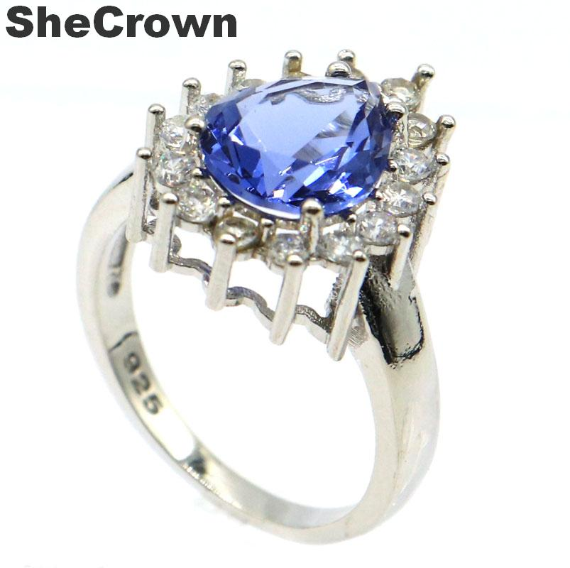 16x13mm Charming Created Iolite Cubic Zirconia Woman's Gift Silver Rings