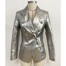 Yüksek sokak yeni 2020 tasarımcı şık pist kadın moda aslan düğmeler gümüş deri Blazer ceket