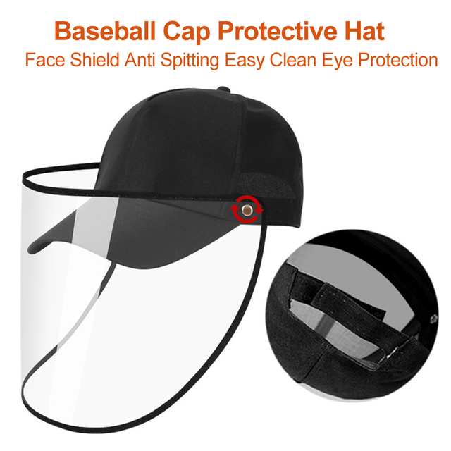 Transparent Anti Spitting PVC Protective Hat Face Shield Travel Easy Clean Eye Protection Outdoor Baseball Cap Saliva Isolation 3
