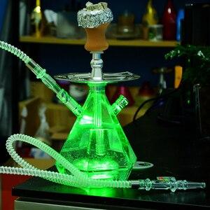 Прозрачный СВЕТОДИОДНЫЙ светильник акриловая трубка для кальяна с чашей наргиле шланг поддон для угля металлические щипцы Chicha Narguile completo