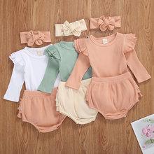 Осенняя одежда для новорожденных девочек из 3 предметов модная футболка в рубчик с длинными рукавами + повседневные штаны + повязка на голов...