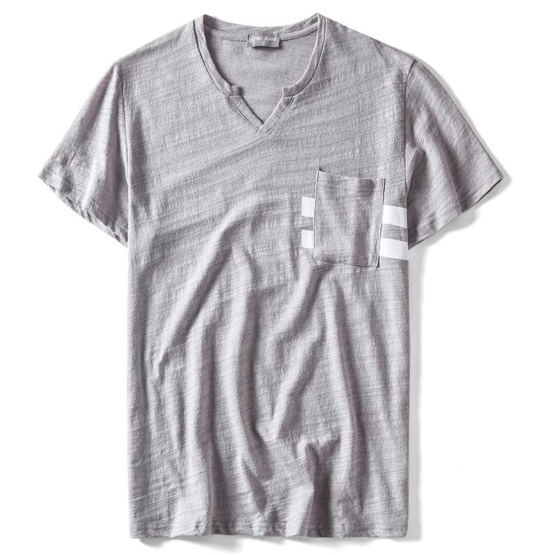 Summer 2020 Design Pocket 100% Cotton V-neck T Shirt Men Casual Streetwear Men T Shirt High-quality Male Tops Tees Shirt Men