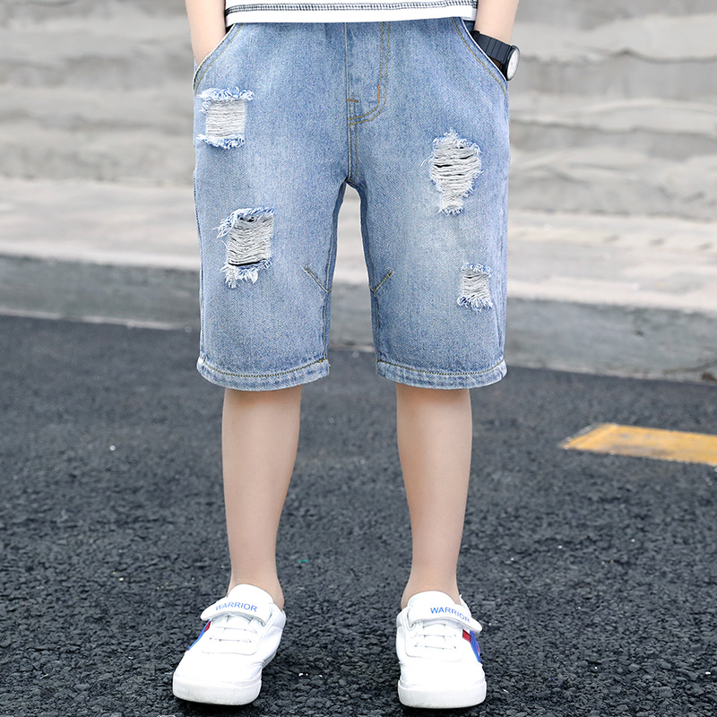 Classic Casual Ripped Shorts Jeans for Boys Children Hole Jeans Kids Fashion Denim Pants Teenage Jean Clothing 6 8 12 10 14Years