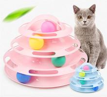 Cztery poziomy zabawka dla kota wieża utworów dysk kot inteligencja rozrywka zapłacić zabawka dla kota s piłka szkolenia zabawka dla kota tanie tanio Balls Plastic cats