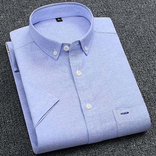 Men's Summer Pure Cotton Oxford Shirts Casual Slim Fit Design Short Sleeve Fashion Male Blouse Shirt 7