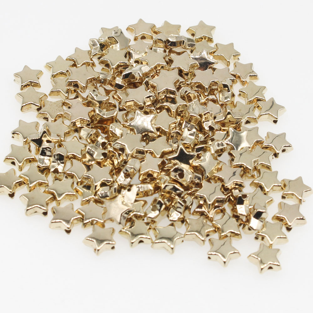 CHONGAI 200Pcs Pentagram Gold Silver CCB Loose Spacer Beads For Jewelry Making DIY Necklace Bracelet 5x10mm(China)