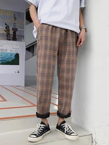 Privathinker Casual Pants Trousers Checkered Plaid Black Mens Streetwear Plus-Size Korean