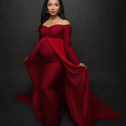 Shoulderless Long Sleeve Pregnancy Dress Photography Props Maternity Maxi Gown Dresses For Photo Shoot Pregnant Women Clothes