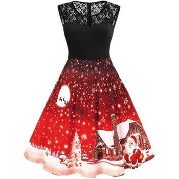 2021 Santa Claus Print Vintage Women Elegant Christmas Party Dress Robe Femme Plus Size Casual O Neck Winter Midi Vestidos 1