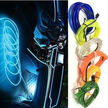 цена на JURUS 5M Car lights 12V El Wire Flexible Rope Neon Tube Line Glow Salon Flat Auto Led Strips Ambient Light Car Pathway Lighting