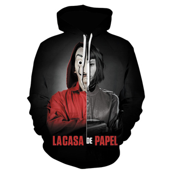 The House of Paper Hoody Men spring Tracksuit Streetwear La Casa De Papel Hoodies Costume Face Sweatshirt Men's Casual Pullover 2