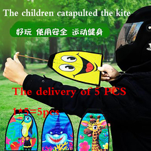 2021 New Baby Elastic Cartoon Small Kite Catapult Portable Rubber Band Elastic Parent interactive Outdoor Children's Toy Kite