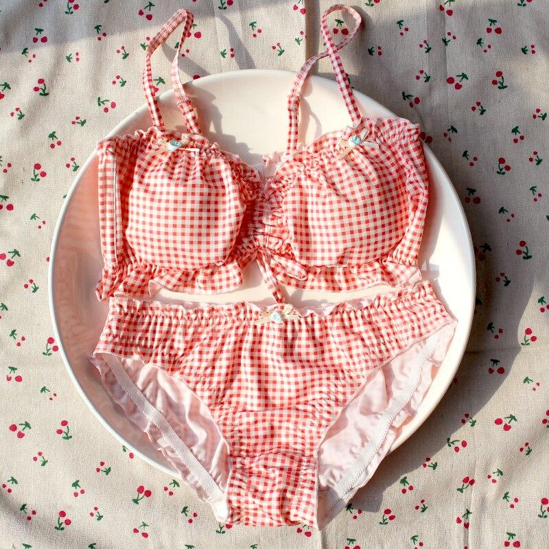 Wriufred Cute sweet bowknot design lingerie sets tube top orange lattice no steel ring bra set women sexy plus size bralette
