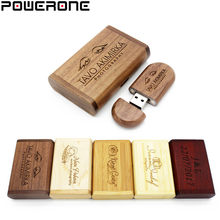 Powerone (1 Pcs Gratis Custom Logo) houten Usb + Doos Usb Flash Drive Pendrive 4 Gb 8 Gb 16 Gb 32 Gb 64 Gb Fotografie Bruiloft gift(China)