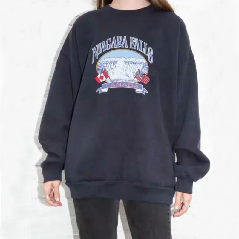 Women Embroidery Oversized Sweatshirt Long Sleeve Embroidery Pullover