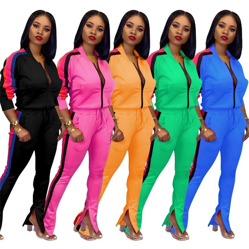 Adogirl Side Colorful Stripe Women Tracksuit Casual 2 Piece Set Zipper Long Sleeve Sweatshirt Top Zipper Cuff Pants Sportswear