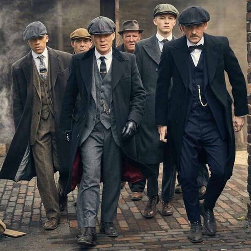 Mens Winter Groom Wear Wedding Dress Business Suit Party Suit Herringbone Tweed 4Piece Peaky Blinders(Overcoat+Jacket+Pant+Vest)