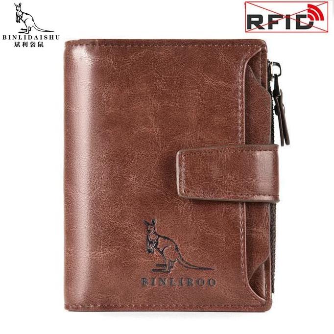 Men's Wallets Genuine Leather Wallet Men Vertical Business Credit Card Holder RFID Anti Theft Male Snap Zipper Purse Wallet Men