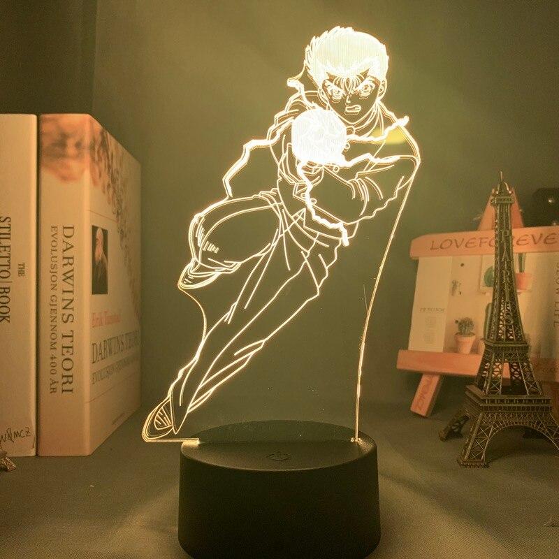 Hf2a8d5e6a56e4edb83ffe9547c42a9f3Y Luminária Yu yu hakusho yusuke urameshi conduziu a luz da noite para o quarto decoração presente colorido nightlight anime 3d lâmpada yu yu hakusho
