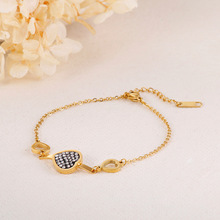 цена на Women Lovely Hollow Out Heart-shaped Black Crystal Charm Stainless Steel Bracelet For Female Gold Color Link Chain Bangle New