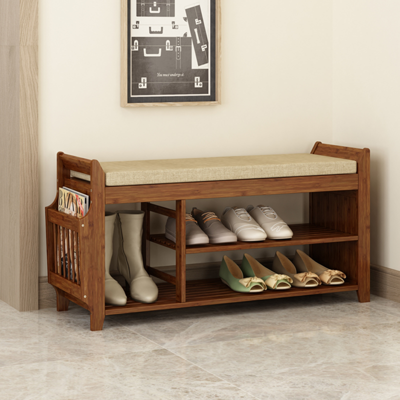 Natural Bamboo Shoe Storage Rack Bench