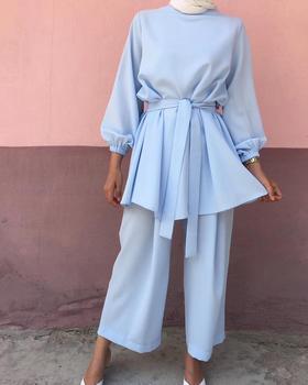 2 Pieces Muslim Suits Hijab Muslim Sets Female Kaftan Islamic Clothing Grote Maten Dames Kleding Ensemble Femme Musulmane F1693