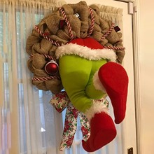 Christmas-Decorations Wreath Floral Thief Santa Home Stole Front Burlap -Yl10 Handmade
