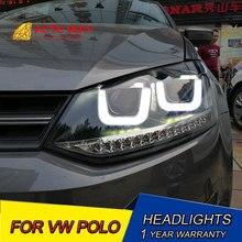 Автомобильный Стайлинг светодиодный HID Rio светодиодный чехол для фары для VW Polo фары 2009- Polo фары Биксеноновые линзы ближнего света
