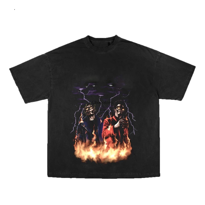 Черная футболка для напитков DEANS Juice wrld X The WeeKND